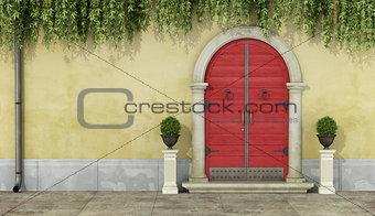 Classic facade with red doorway