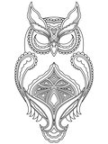 Abstract outline of owl with close eyes