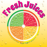 banner for juice grapefruit, orange, lime, lemon