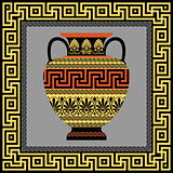 Frame and amphora with Greek ornament Meander