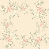 Vector seamless illustration of flowers on a beige background.