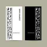 Egypt hieroglyphs. Business cards design
