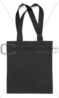 Black fabric bag on white