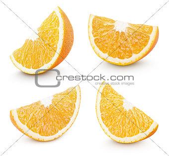 Slice of orange citrus fruit on white