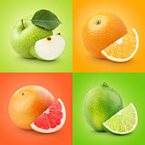 Set of colorful fruits - apple, orange, grapefruit, lime