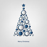 Christmas card with tree of blue circles template