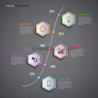 Time line info graphic with colorful hexagons template