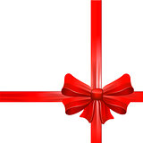 Red gift bow with ribbons. Vector.