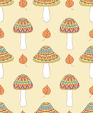 seamless pattern with abstract mushrooms