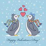 valentine's card with penguines