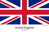 National flag of United Kingdom with correct proportions, element, colors