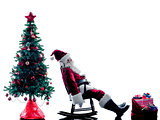 santa claus Tired  silhouette isolated