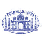Stamp with Taj Mahal palace - visit India