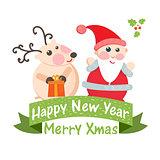 Cute Christmas card with Santa and deer.