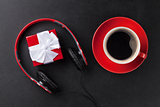 Gift box with headphones and coffee