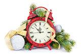 Christmas clock, bauble decor and snow fir tree