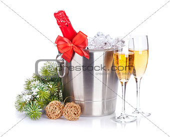 Christmas champagne and snow fir tree