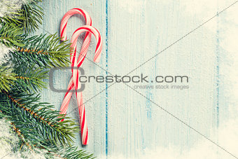 Candy canes and christmas tree
