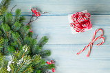 Christmas gift box, candy cane and fir tree