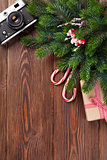 Christmas tree branch, gift and camera