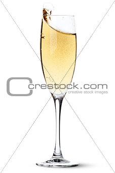 Champagne glass with splash