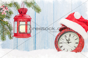 Christmas candle lantern and alarm clock