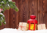 Christmas candle lantern and gift boxes