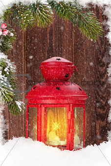 Christmas candle lantern and fir tree