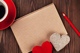 Valentines day toy hearts and notepad for your text