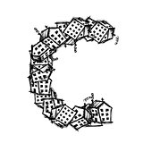 Letter C made from houses, vector alphabet design