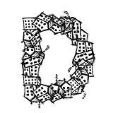 Letter D made from houses, vector alphabet design