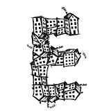 Letter E made from houses, vector alphabet design