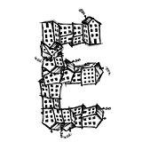 Letter E made from houses, vector alphabet design