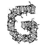Letter G made from houses, vector alphabet design