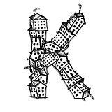 Letter K made from houses, vector alphabet design