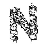 Letter N made from houses, vector alphabet design