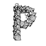 Letter P made from houses, vector alphabet design