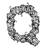 Letter Q made from houses, vector alphabet design