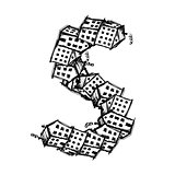 Letter S made from houses, vector alphabet design