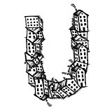 Letter U made from houses, vector alphabet design