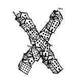 Letter X made from houses, vector alphabet design