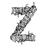 Letter Z made from houses, vector alphabet design