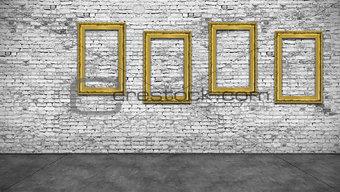 Four vertical golden frames