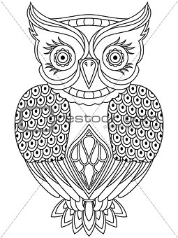 Abstract outline of respected owl