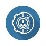 Global Integration Icon. Flat Design.