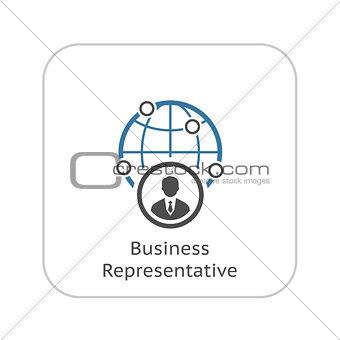 Business Representative Icon. Flat Design.