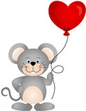 Cute mouse holding a heart shaped balloon
