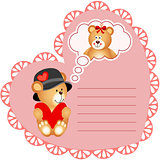 Heart shaped valentine card with teddy bear