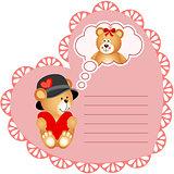 Heart shaped valentine card with teddy bear