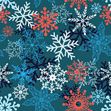 Multi-colored snowflakes form
